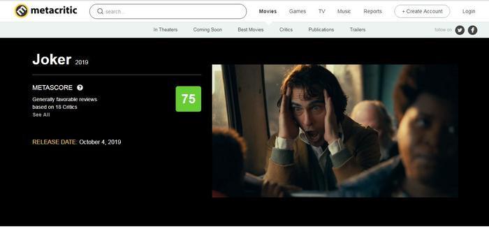 """75 là con số khá ổn của Metacritic dành cho """"Joker""""."""
