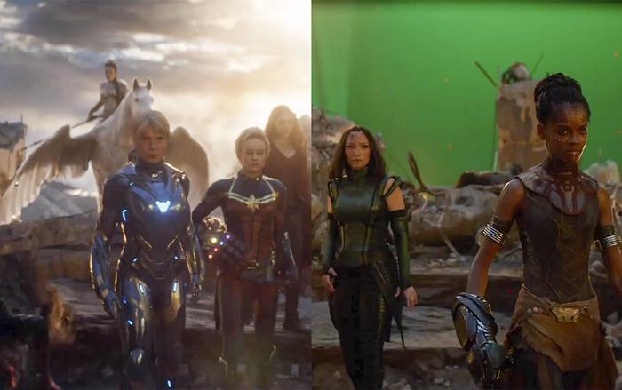 Cảnh đại chiến trong 'Endgame' trước và sau kỹ xảo. (Ảnh:VFX Guru)