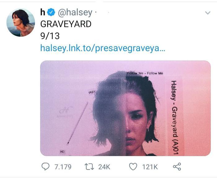 Halsey tung poster cho sản phẩm comeback với tựa đề Grave Yard.
