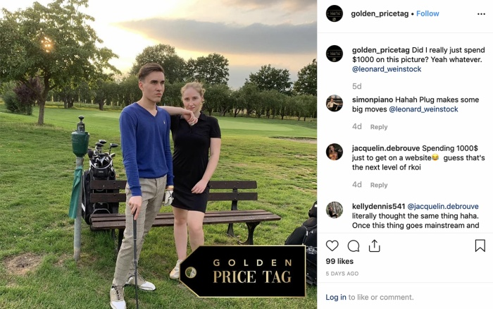 Trang InstagramGolden Price Tag cho biết cặp đôi này đã chi 1000 USD để được xuất hiện trên trang của họ.