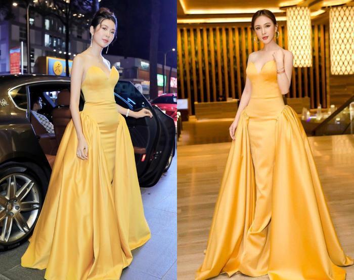 Trong thiết kế tông vàng nổi bật cả Thúy Vân và Kelly Nguyễn đều tỏa sáng hết nấc.