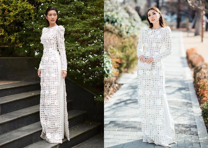 Thúy Vân duyên dáng trong tà áo dài đến từ nhà mốt công trí. Trước đó thí sinh The Face Tường Linh cũng chọn thiết kế tương tự diện trên đất nước Nhật Bản.