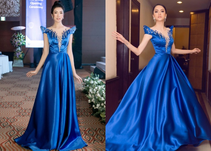 Trong bộ cánh xanh nước biển, Thúy Vân và Hoa hậu chuyển giới quốc tế Hương Giang đẹp bất bại.