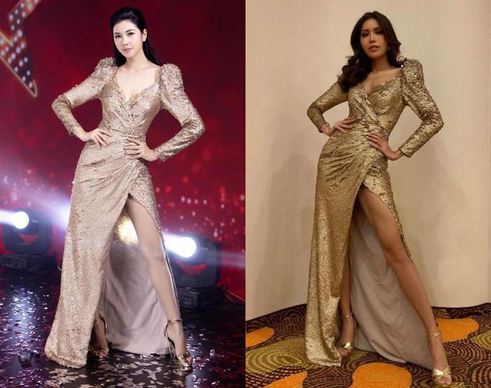 Nàng Á hậu Quốc tế diện lại chiếc đầm xẻ cao của Hoa hậu Siêu Quốc gia châu Á - Minh Tú trong một sự kiện gần đây. Cả hai cũng có kiểu pose dáng ai giống hệt nhau.