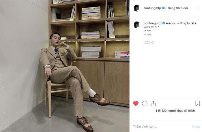 Hình ảnh và dòng trạng thái được đăng tải trên Instagram của Sơn Tùng M-TP.