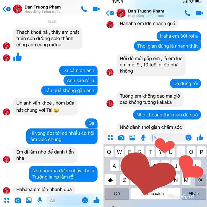 Những tin nhắn quan tâm hỏi han đầy ngọt ngào của Đan Trường như một người anh lớn dành cho S.T Sơn Thạch. S.T Sơn Thạch thời đi học, chụp chung cùng Đan Trường, Mỹ Tâm, Quang Vinh…