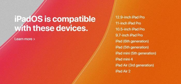 Danh sách các dòng iPad hỗ trợ iOS 13.(Ảnh: Internet)