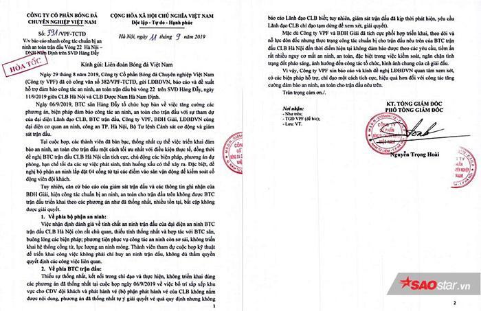 Báo cáo hỏa tốc của VPF gửi VFF vì BTC sân Hàng Đẫy không thực hiện đúng nội dung cuộc họp để đảm bảo an ninh trận Hà Nội và Nam Định.