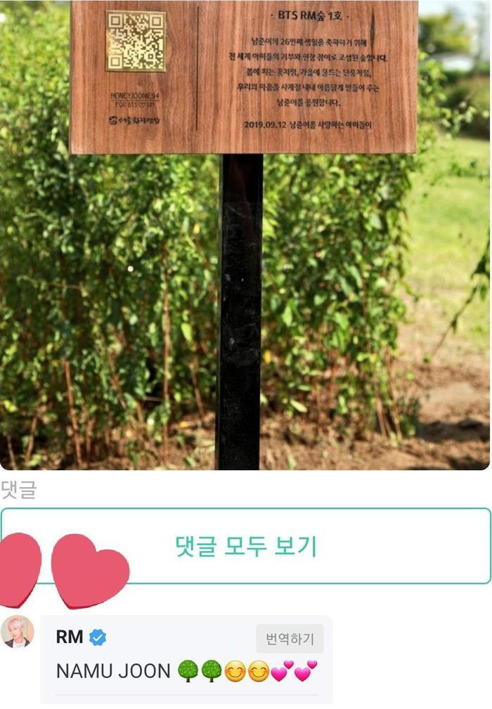 RM để lại bình luận trong bài đăng của fan về khu rừng mang tên mình.