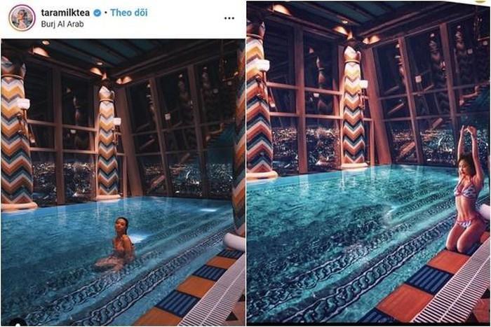 Dưới hồ bơi có nguyên một dấu lõm cho thấy sự can thiệp PTS ở trong bức ảnh.