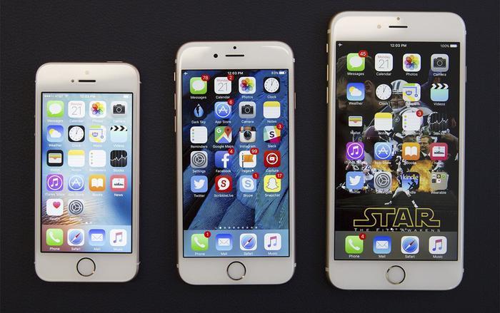Bộ ba iPhone 5s, iPhone 6 và iPhone 6 Plus. (Ảnh: Cnet)