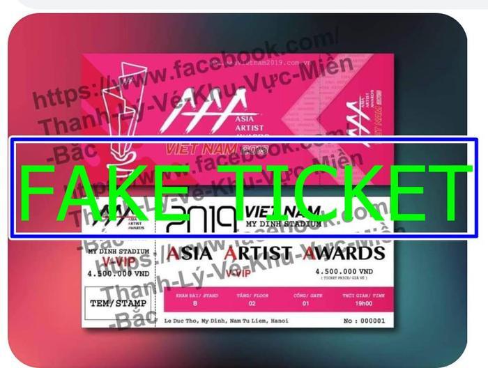 BTC AAA 2019 đóng dấu Fake Ticket vào những mẫu vé giả đang tràn lan trên mạng xã hội.