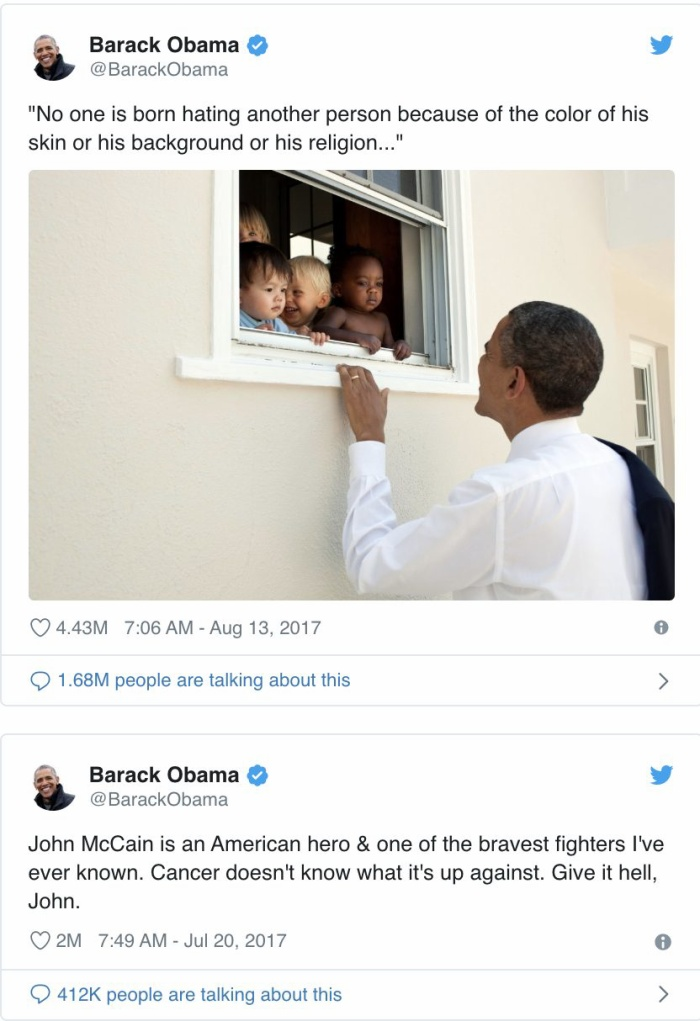 Cựu Tổng thống Mỹ Obama hiện đang có 2 tweet đạt hơn 2 triệu like. (Ảnh: Twitter)
