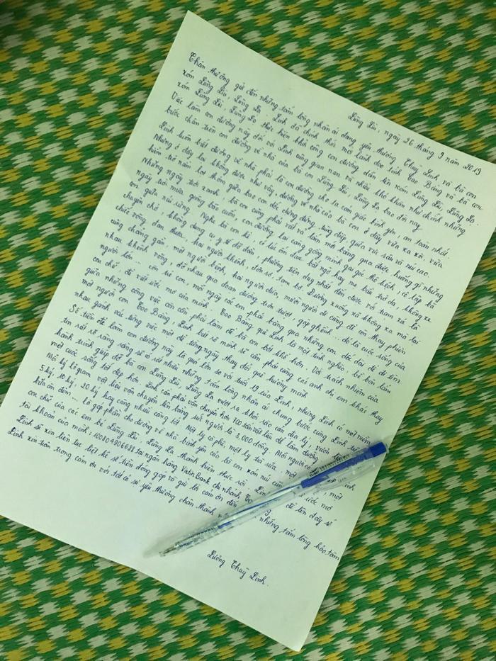 Bức thư tay do chính Lương Thùy Linh viết để kêu gọi gây quỹ cho dự án nhân ái. Với số tiền dự kiến là 2,5 tỷ đồng.
