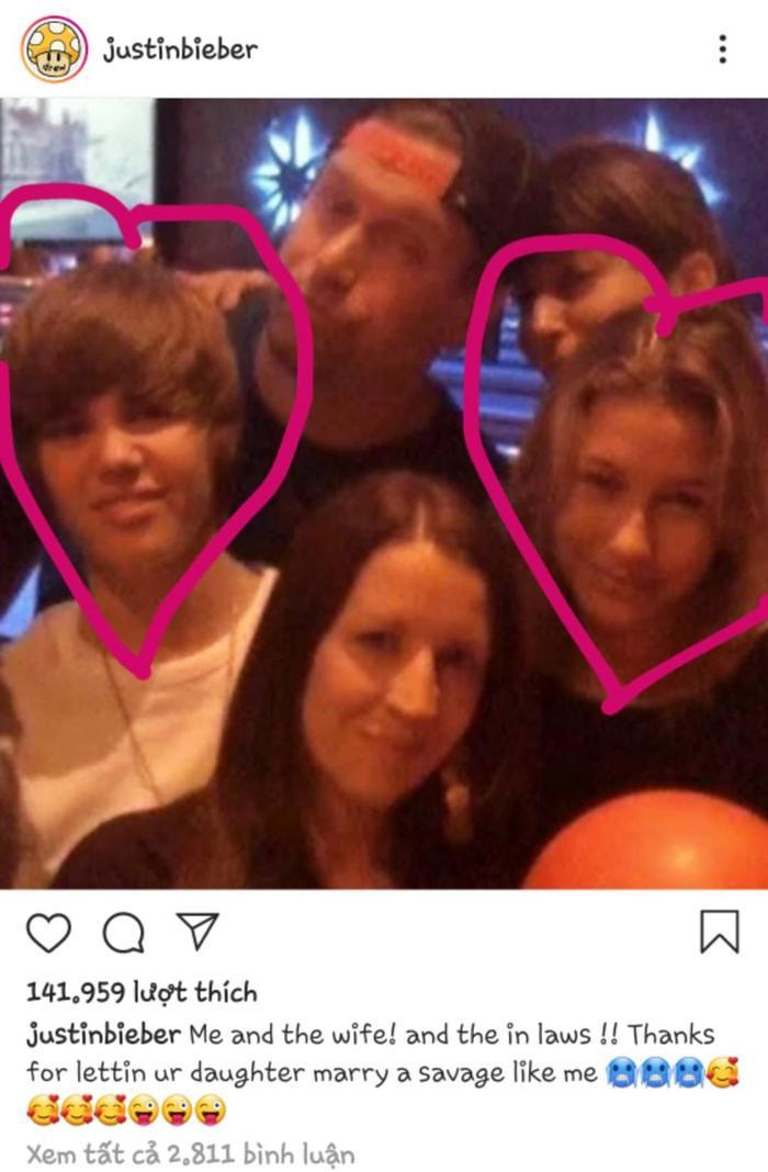 Justin Bieber gửi lời cảm ơn đến bố mẹ của Hailey vì đã tin tưởng trao con gái của mình cho nam ca sĩ.
