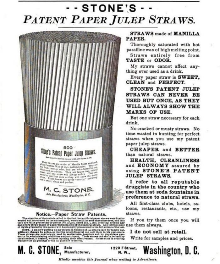 Minh họa quảng cáo cho ống hút giấy vào năm 1889.