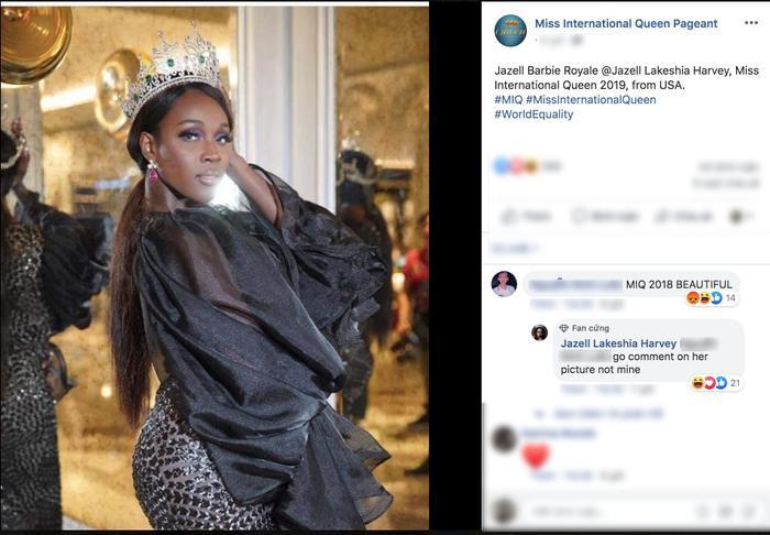 Đương kim Hoa hậu chuyển giới Quốc tế đáp trả cực gắt bình luận của fan Việt khi cố tình khen Hương Giang trong hình ảnh của mình.