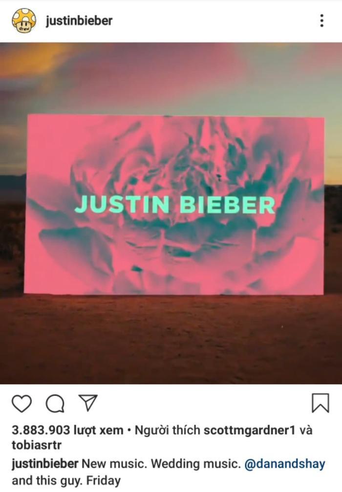 Justin Bieber mới đây đã thông báo sẽ ra mắt ca khúc mới vào ngày mai.