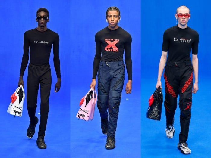 Trend xuân hè 2020 từ Balenciaga: Người mẫu nam xách túi Hello Kitty tự tin sải bước ảnh 0