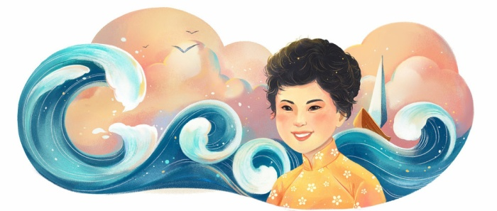 Google Doodle mừng kỷ niệm 77 năm ngày sinh nhà thơ Xuân Quỳnh. (Ảnh: Google)