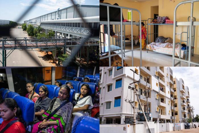 Một số hình ảnh từ nhà máy Foxconn Ấn Độ. (Ảnh: Karen Dias/Bloomberg)