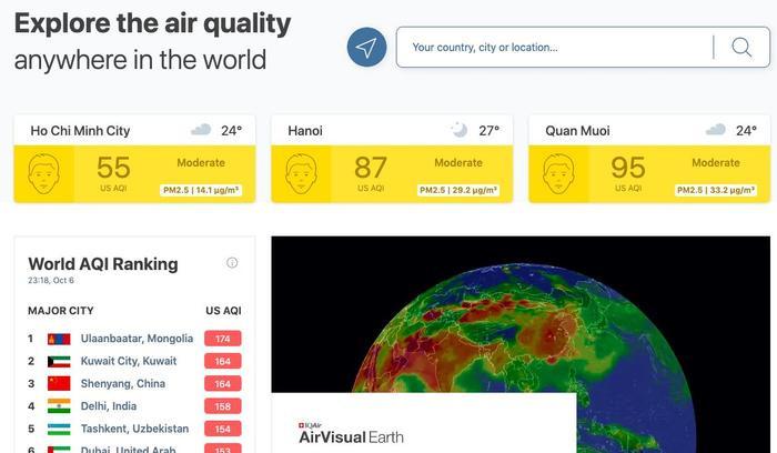 Cùng thời điểm, website của AirVisual vẫn hoạt động bình thường. (Ảnh chụp màn hình)
