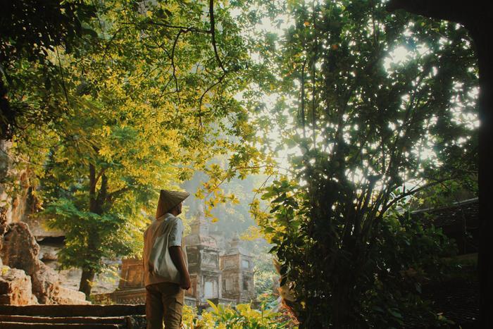 Nắng chiều chiếu rọi qua từng kẽ lá ở Chùa Bích Động.