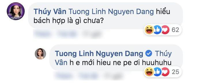 """Thúy Vân để lại bình luận hỏi Tường Linh về """"bách hợp"""" khiến người hâm mộ chú ý. (Bách hợp: là cụm từ biểu đạt tình cảm yêu đương đồng giới nữ)."""