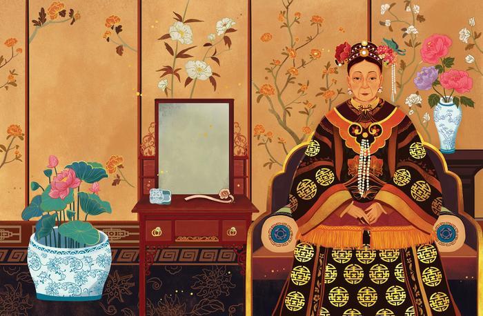 """Bức tranh Hoàng hậu Từ Hi trong cuốn sách """"10 Phụ Nữ Thay Đổi Lịch Sử Thế Giới""""."""