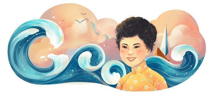 Bức Google Doodle nhân dịp kỷ niệm 77 năm ngày sinh của nữ nhà thơ Xuân Quỳnh.