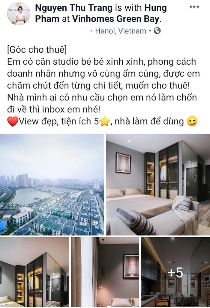 Bài đăng trên trang cá nhân của Á hậu Thu Trang