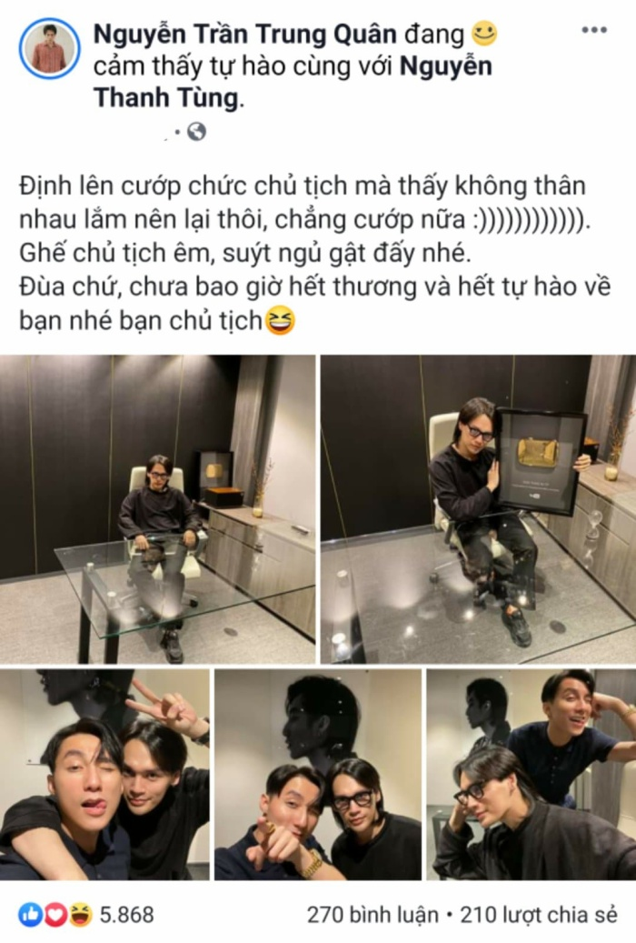 Nguyễn Trần Trung Quân chia sẻ loạt ảnh chụp cùng Sơn Tùng M-TP với dòng trạng thái siêu tình cảm.