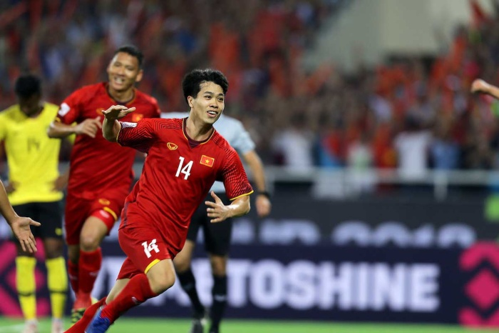 Công Phượng từng thể hiện cái duyên ghi bàn vào lưới ĐT Malaysia. Ảnh: AFF.