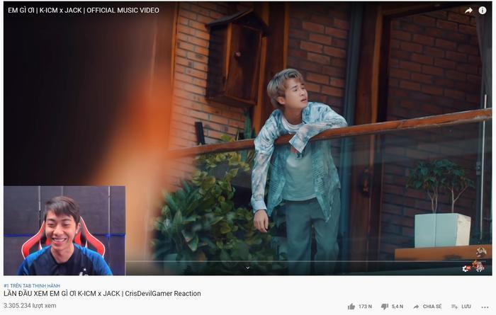 Reaction MV Em gì ơi của Cris Phan đạt top 1 trending trên Youtube.