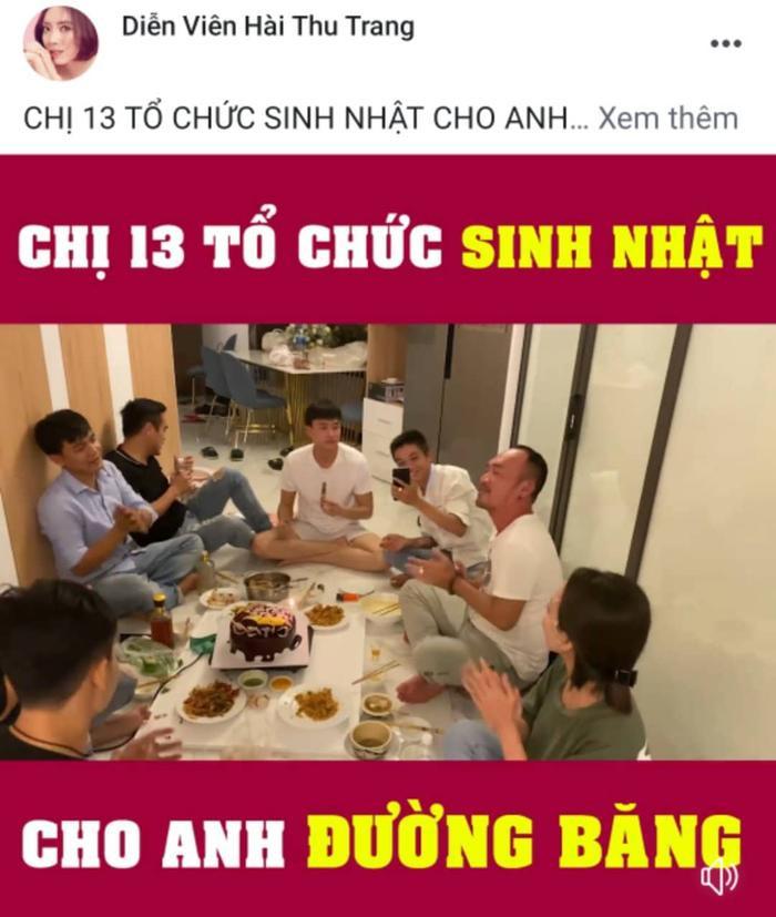 Thu Trang, Quốc Trường cùng những người bạn hát chúc mừng sinh nhật Tiến Luật.