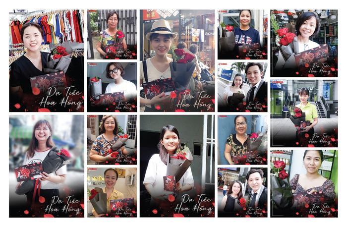 Những nụ cười hạnh phúccủa khách hàng Grandekhi cầm trên taytấmthiệpmờivà đoáhồng đỏ thắm từ Yamaha.