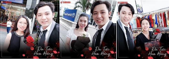 Chàng trai Yamaha lịch lãm tặng hoa hồng và thiệp mời cho các nữ chủ nhân của xe tay ga Grande.