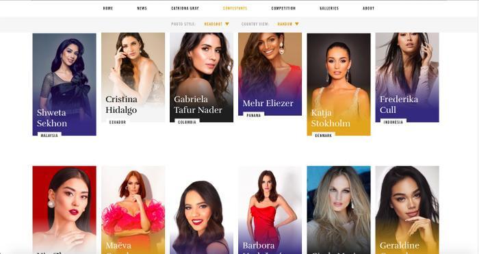 34 trên tổng số hơn 90 thí sinh đã lên sóng trang chủ Miss Universe.