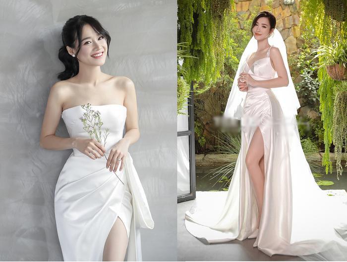 Thiết kế xẻ tà và xếp nếp ở hông ở hai mẫu váy khá giống nhau