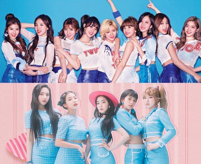 TWICE, REDVELVET là 2 nhóm nhạc nữ hàng đầu K-Pop hiện nay.