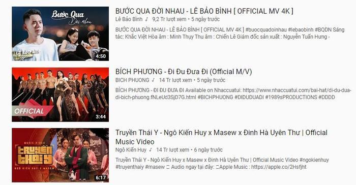 Bước qua đời nhau từng vượt qua Đi đu đưa đi (Bích Phương), Truyền Thái Y (Ngô Kiến Huy) để nắm giữ vị trí top 1 trending Youtube.