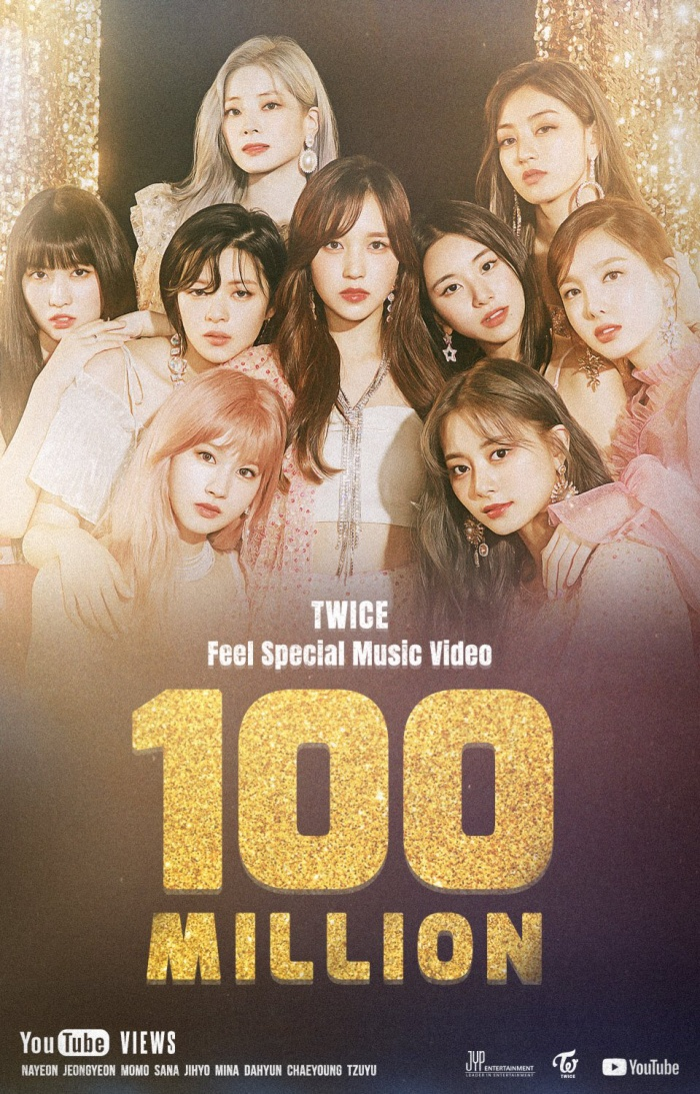 Poster chúc mừngMVFeel Specialcủa Twice chính thức đạt 100 triệu view.