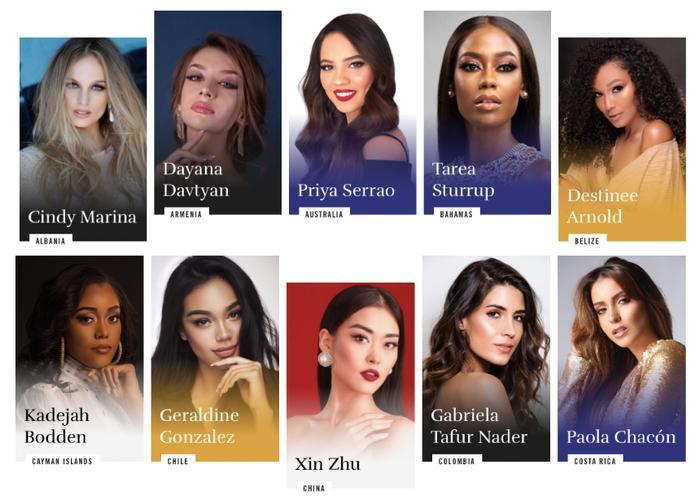 Hình ảnh các ứng viên trên trang chủ cuộc thi.