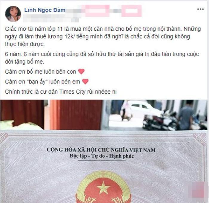 Khoảng giữa năm 2018, Linh Ngọc Đàm từng khiến cộng đồng mạng hoảng hốt khi tiết lộ tự mua nhà ở khu chung cư cao cấp Times City cho bố mẹ. Căn hộ này được dân mạng cho là có mức giá không hề rẻ.