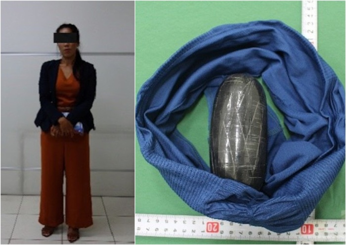 Gói ma túy đá được giấu trong quần lót của nghi phạm.
