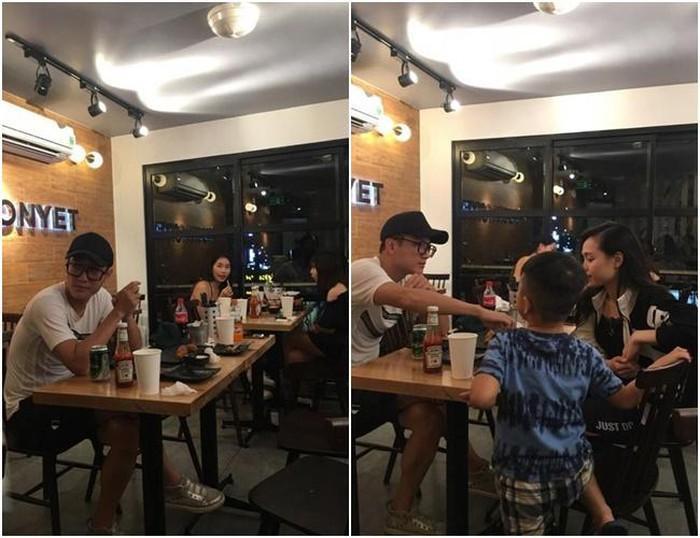 Hình ảnh nam diễn viên cùng người phụ nữ lạ đi ăn cùng con trai.