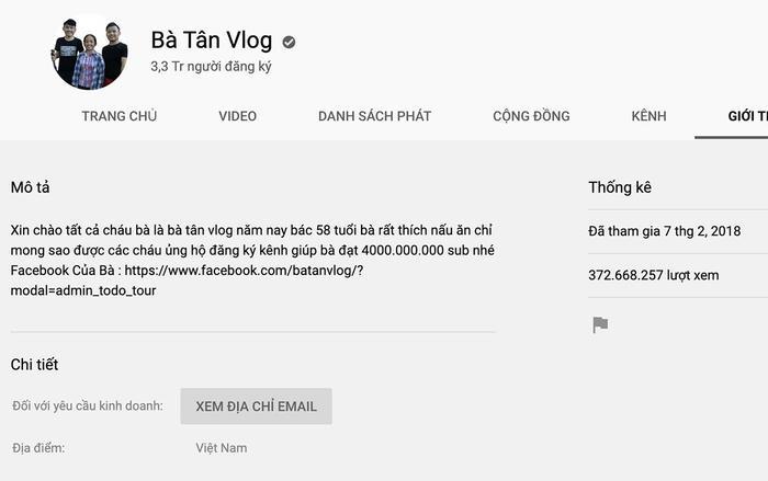 """Dù gặp nhiều """"sóng gió"""" trong thời gian qua, kênh YouTube Bà Tân Vlog vẫntăng sub khủng."""