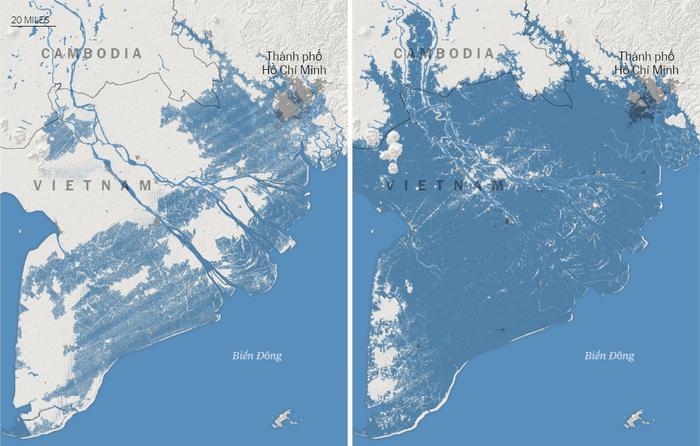 Dự đoán trước đây (trái) và dự đoán trong nghiên cứu mới công bố (phải) cho thấy gần như toàn bộ Đồng bằng Sông Cửu Long đối diện với nguy cơ bị nhấn chìm dưới làn nước biển vào năm 2050. Đồ họa: The New York Times.