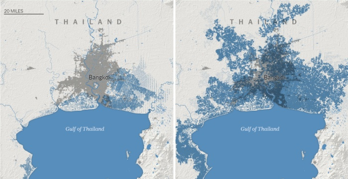 Thủ đô Bangkok của Thái Lan bị đe dọa bởi nước biển dâng vào năm 2050. Nghiên cứu mới chỉ ra vùng ngập lụt là rộng hơn rất nhiều so với dự báo trước đây. Đồ họa: The New York Times.