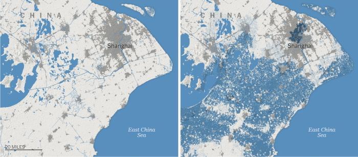 Thượng Hải - thành phố đông dân nhất Trung Quốc sẽ bị ngập và bị chia cắt, nơi này sẽ tạo thành những hòn đảo nằm rải rác khi nước biển dâng vào năm 2050. Đồ họa: The New York Times.